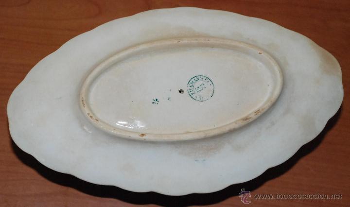 Antigüedades: LOTE SOPERA , SALSERA Y PLATO FLOR DE LIS - PICKMAN Y CIA CHINA OPACA SEVILLA SIGLO XIX - Foto 6 - 49371027