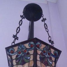 Antigüedades: MAGNÍFICA LAMPARA TIFFANY DE TECHO TIPO COLGANTE DE GRAN TAMAÑO .. Lote 49374256