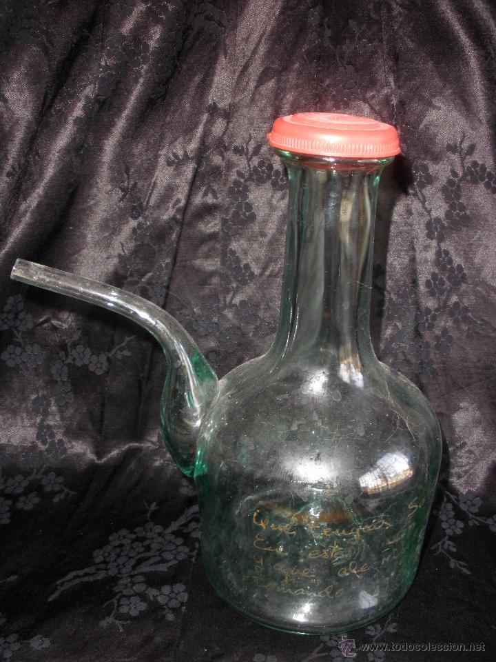 ANTIGUO PORRÓN DE CRISTAL SOPLADO DE CARTAGENA MURCIA DEDICADO FRASE A MANO (Antigüedades - Cristal y Vidrio - Santa Lucía de Cartagena)