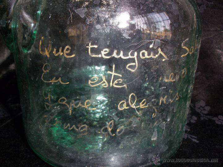 Antigüedades: ANTIGUO PORRÓN DE CRISTAL SOPLADO de CARTAGENA MURCIA DEDICADO frase a mano - Foto 2 - 49404210