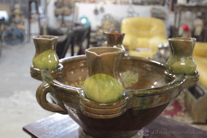 Antigüedades: Gran plato o cuenco, con 2 jarritas. En barro vidriado, Mesón de Don Quijote -ref3500- - Foto 7 - 49420714