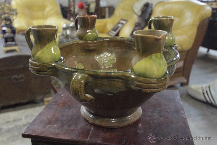 Antigüedades: Gran plato o cuenco, con 2 jarritas. En barro vidriado, Mesón de Don Quijote -ref3500- - Foto 8 - 49420714