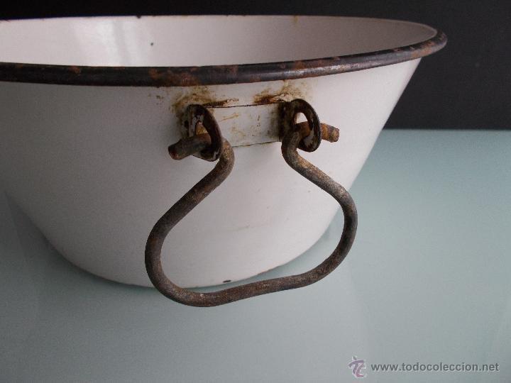 Antigüedades: PALANGANA O BARREÑO PORCELANA ESMALTADA GRAN TAMAÑO - Foto 4 - 49421031