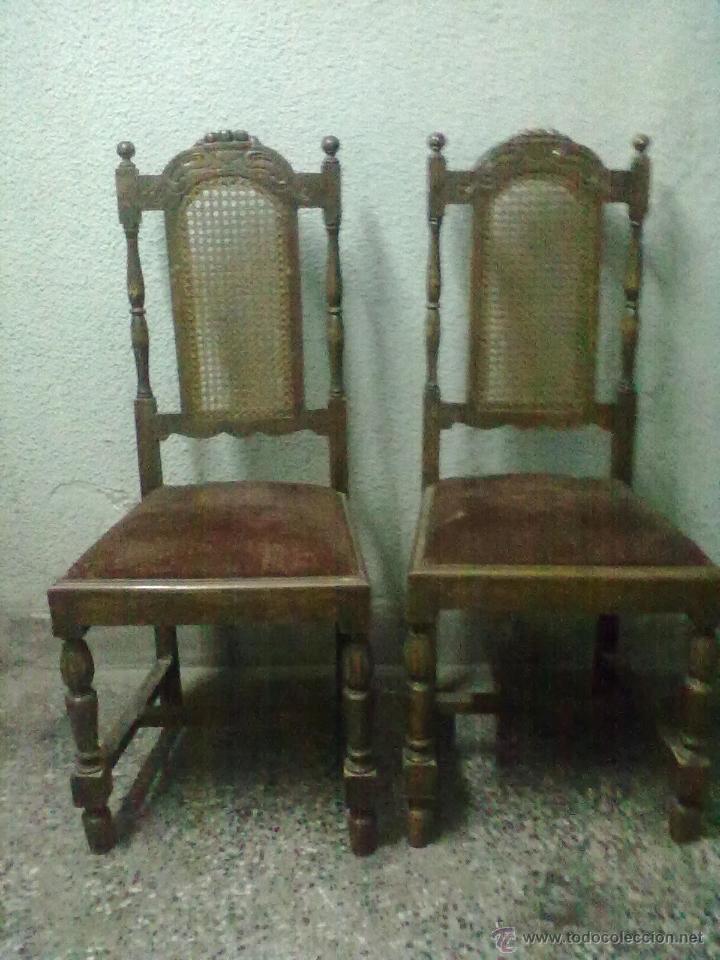 Dos sillas respaldo rejilla para restaurar comprar for Antiguedades para restaurar