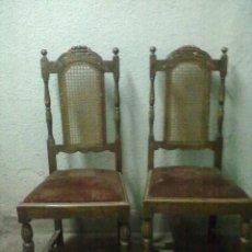 Antigüedades: DOS SILLAS RESPALDO REJILLA PARA RESTAURAR. Lote 49433544