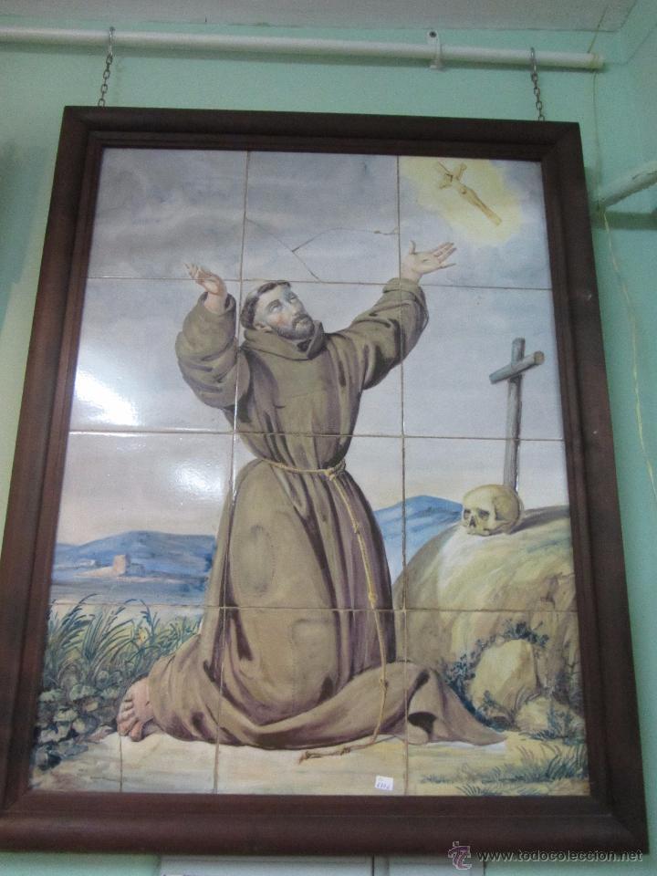 PANEL DE AZULEJO SAN FRANCISCO DE ASIS - SIGLO XIX (Antigüedades - Porcelanas y Cerámicas - Azulejos)