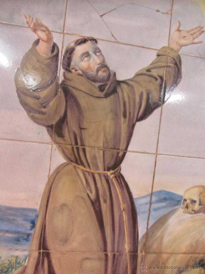 Antigüedades: Panel de Azulejo San Francisco de Asis - siglo XIX - Foto 4 - 49434205