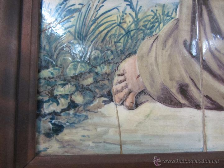 Antigüedades: Panel de Azulejo San Francisco de Asis - siglo XIX - Foto 5 - 49434205