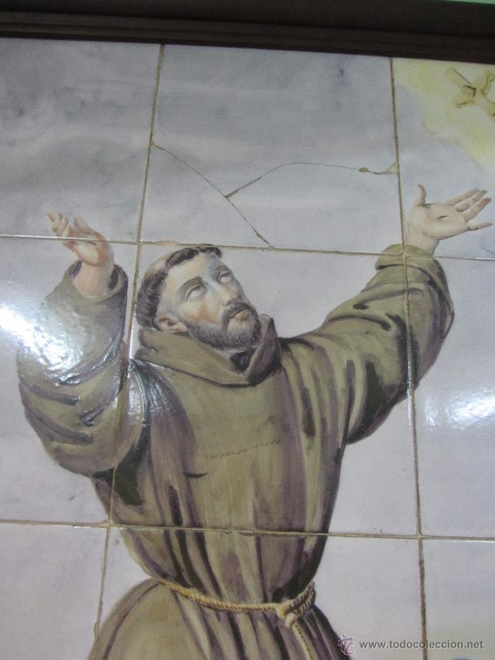 Antigüedades: Panel de Azulejo San Francisco de Asis - siglo XIX - Foto 6 - 49434205