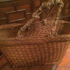 Antigüedades - Antigua pequeña cesta de mimbre esparto años 10 o 20 - 52820208