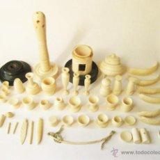 Antigüedades: MAGNIFICO LOTE DE PIEZAS REALIZADAS EN HUESO. TARROS PEQUEÑOS. Lote 49452486