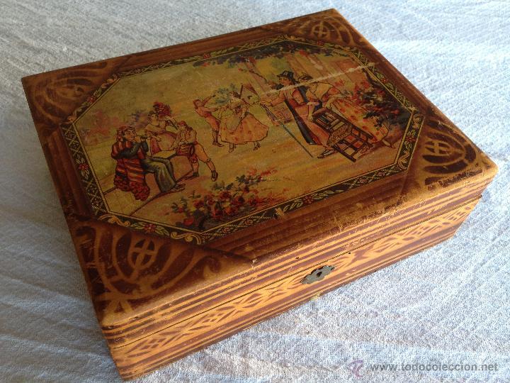 antigua caja de madera peinador primer cuarto del siglo xx barraca valencia huerta antigedades