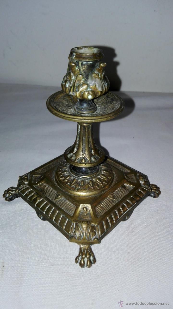 Antigüedades: PAREJA DE CANDELEROS IMPERIO EN BRONCE - SIGLO XIX - Foto 5 - 49480693