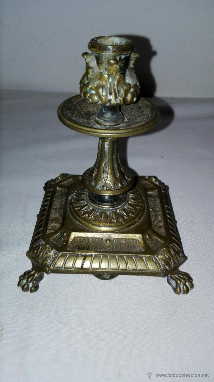 Antigüedades: PAREJA DE CANDELEROS IMPERIO EN BRONCE - SIGLO XIX - Foto 6 - 49480693