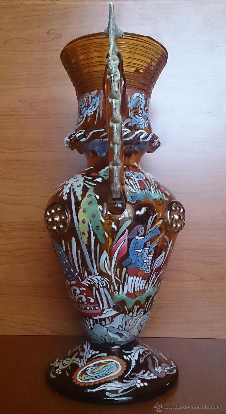Antigüedades: Jarrón antiguo en cristal ambar esmaltado al fuego y firmado por el artista vidriero Royo, 37,5 CM . - Foto 2 - 49482009