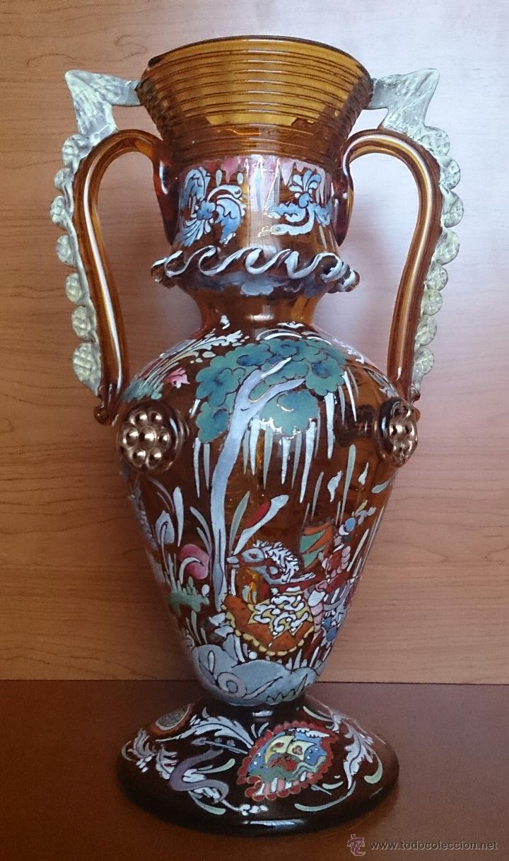 Antigüedades: Jarrón antiguo en cristal ambar esmaltado al fuego y firmado por el artista vidriero Royo, 37,5 CM . - Foto 3 - 49482009