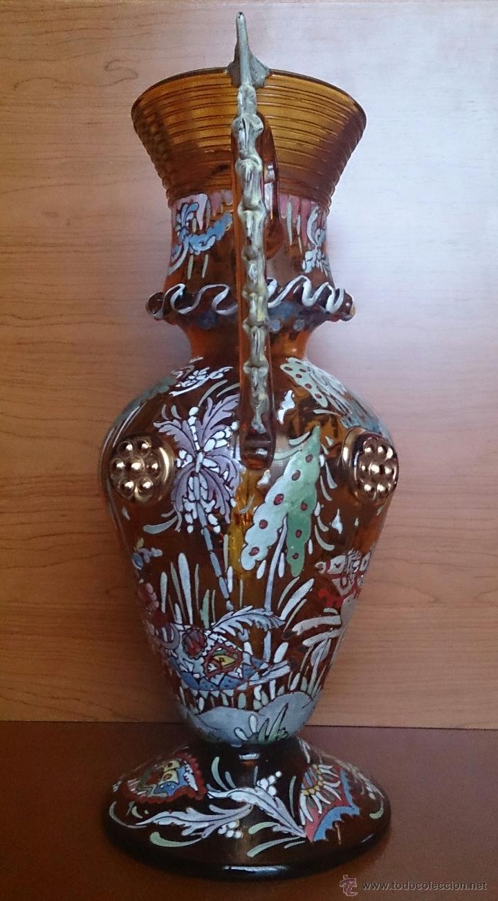 Antigüedades: Jarrón antiguo en cristal ambar esmaltado al fuego y firmado por el artista vidriero Royo, 37,5 CM . - Foto 4 - 49482009
