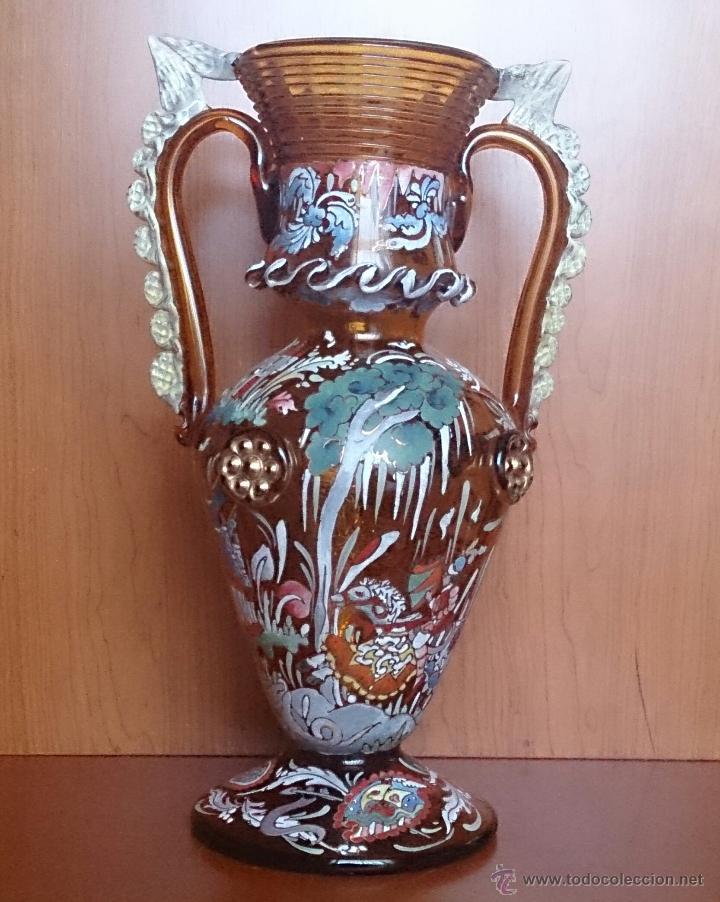 Antigüedades: Jarrón antiguo en cristal ambar esmaltado al fuego y firmado por el artista vidriero Royo, 37,5 CM . - Foto 5 - 49482009
