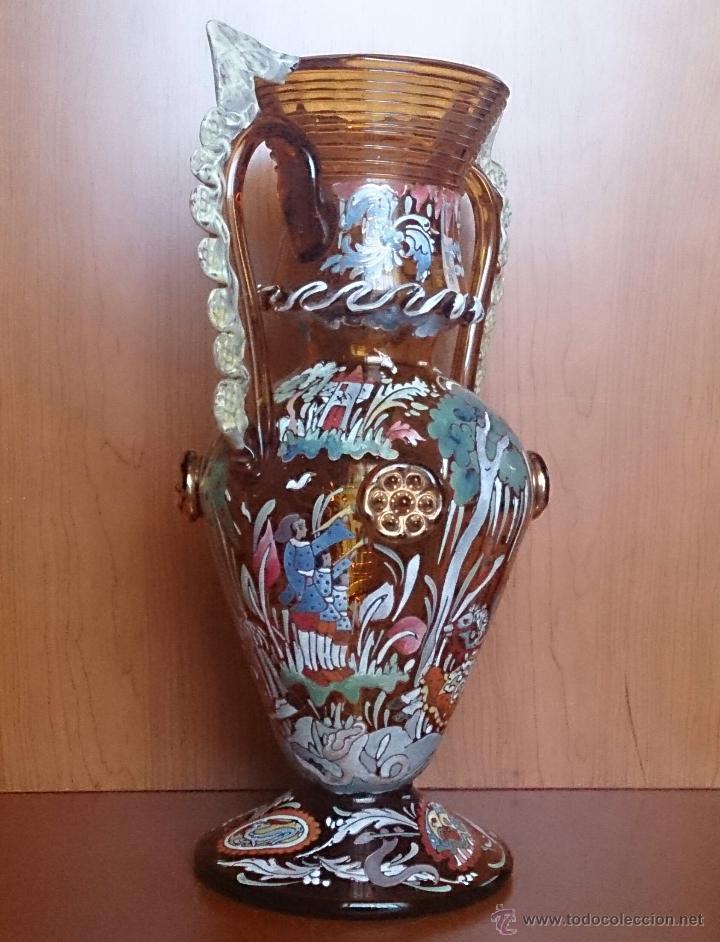 Antigüedades: Jarrón antiguo en cristal ambar esmaltado al fuego y firmado por el artista vidriero Royo, 37,5 CM . - Foto 6 - 49482009