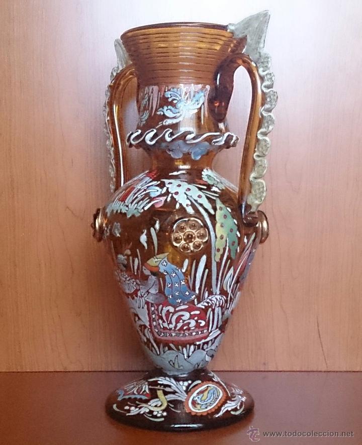 Antigüedades: Jarrón antiguo en cristal ambar esmaltado al fuego y firmado por el artista vidriero Royo, 37,5 CM . - Foto 8 - 49482009