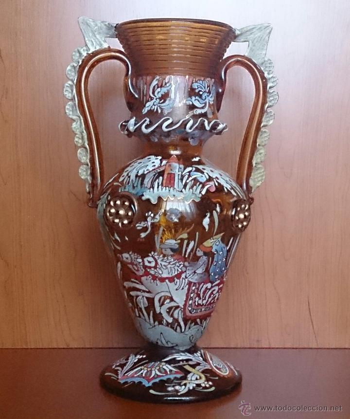 Antigüedades: Jarrón antiguo en cristal ambar esmaltado al fuego y firmado por el artista vidriero Royo, 37,5 CM . - Foto 9 - 49482009