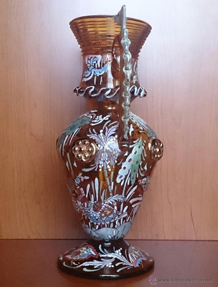 Antigüedades: Jarrón antiguo en cristal ambar esmaltado al fuego y firmado por el artista vidriero Royo, 37,5 CM . - Foto 11 - 49482009