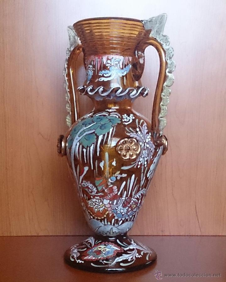 Antigüedades: Jarrón antiguo en cristal ambar esmaltado al fuego y firmado por el artista vidriero Royo, 37,5 CM . - Foto 12 - 49482009