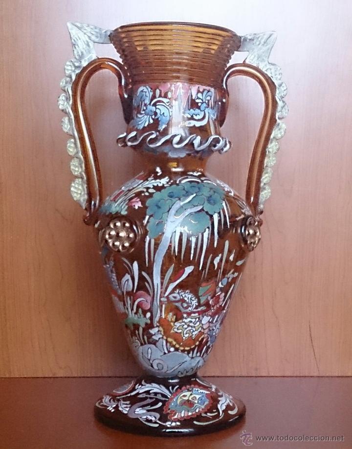 Antigüedades: Jarrón antiguo en cristal ambar esmaltado al fuego y firmado por el artista vidriero Royo, 37,5 CM . - Foto 13 - 49482009