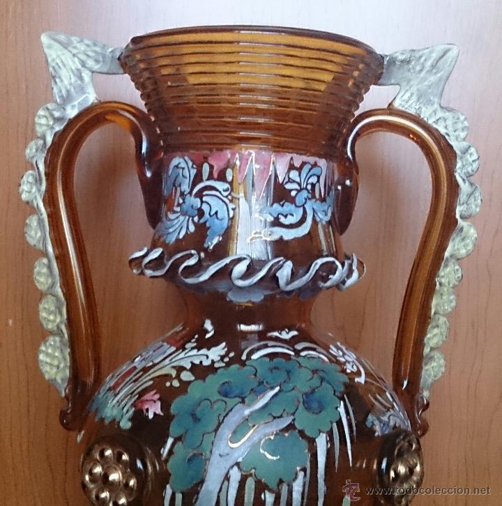Antigüedades: Jarrón antiguo en cristal ambar esmaltado al fuego y firmado por el artista vidriero Royo, 37,5 CM . - Foto 14 - 49482009