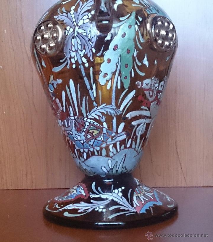 Antigüedades: Jarrón antiguo en cristal ambar esmaltado al fuego y firmado por el artista vidriero Royo, 37,5 CM . - Foto 17 - 49482009