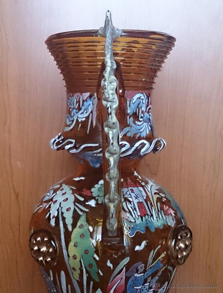 Antigüedades: Jarrón antiguo en cristal ambar esmaltado al fuego y firmado por el artista vidriero Royo, 37,5 CM . - Foto 20 - 49482009