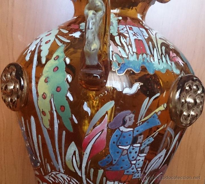 Antigüedades: Jarrón antiguo en cristal ambar esmaltado al fuego y firmado por el artista vidriero Royo, 37,5 CM . - Foto 22 - 49482009