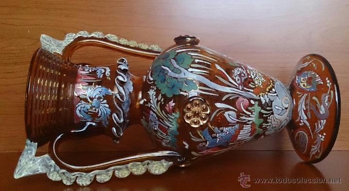 Antigüedades: Jarrón antiguo en cristal ambar esmaltado al fuego y firmado por el artista vidriero Royo, 37,5 CM . - Foto 23 - 49482009