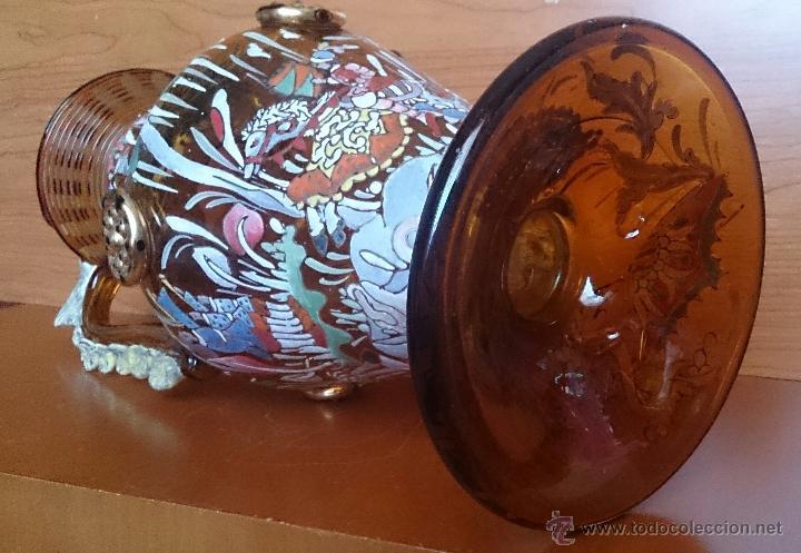 Antigüedades: Jarrón antiguo en cristal ambar esmaltado al fuego y firmado por el artista vidriero Royo, 37,5 CM . - Foto 24 - 49482009