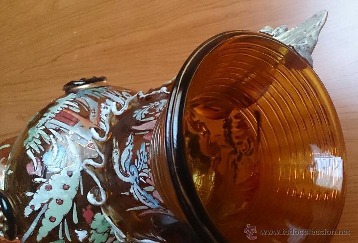 Antigüedades: Jarrón antiguo en cristal ambar esmaltado al fuego y firmado por el artista vidriero Royo, 37,5 CM . - Foto 25 - 49482009