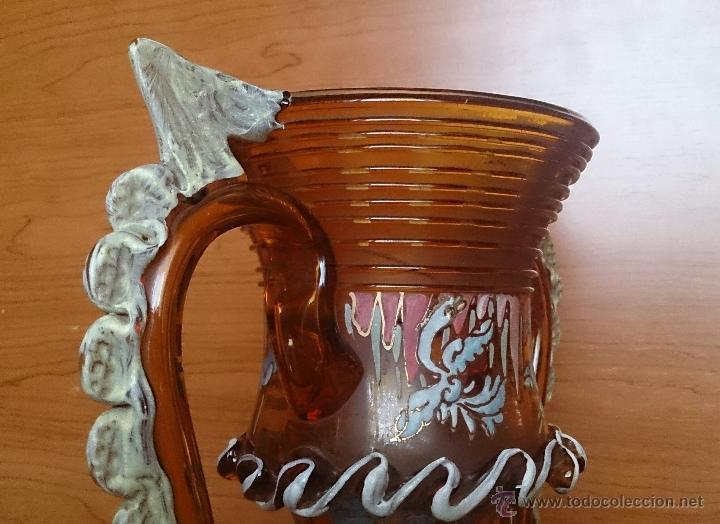 Antigüedades: Jarrón antiguo en cristal ambar esmaltado al fuego y firmado por el artista vidriero Royo, 37,5 CM . - Foto 26 - 49482009