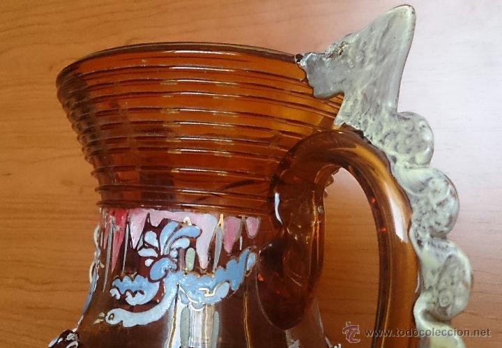 Antigüedades: Jarrón antiguo en cristal ambar esmaltado al fuego y firmado por el artista vidriero Royo, 37,5 CM . - Foto 27 - 49482009