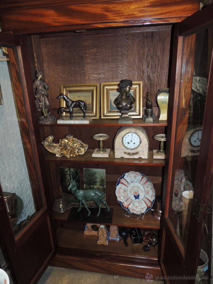 Antigüedades: PRECIOSO ARMARIO VITRINA DE CAOBA EPOCA LUIS FELIPE - Foto 9 - 44093432