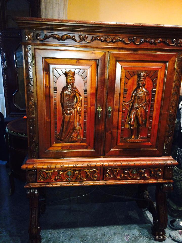 MUEBLE AUXILIAR DE MADERA MACIZA (Antigüedades - Muebles Antiguos - Auxiliares Antiguos)