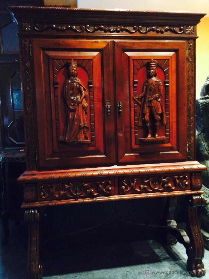 Antigüedades: MUEBLE AUXILIAR DE MADERA MACIZA - Foto 2 - 49493529