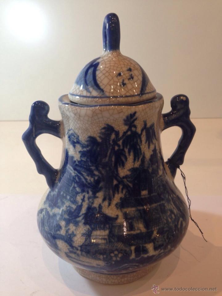 PRECIOSA JARRA GRANDE CON ASAS DE 20CM ESTILO DELFT CRAQUELADO EN PERFECTO ESTADO (Antigüedades - Porcelana y Cerámica - Holandesa - Delft)