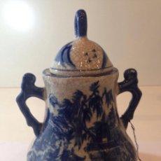 Antigüedades: PRECIOSA JARRA GRANDE CON ASAS DE 20CM ESTILO DELFT CRAQUELADO EN PERFECTO ESTADO. Lote 49502564