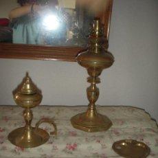 Antigüedades: LAMPARA Y QUINQUE DE ACEITE ANTIGUOS. Lote 49512525