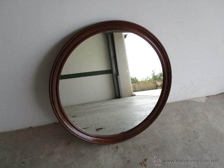 Espejo redondo 80 cm diametro marco de madera vendido en for Espejos redondos con marco de madera