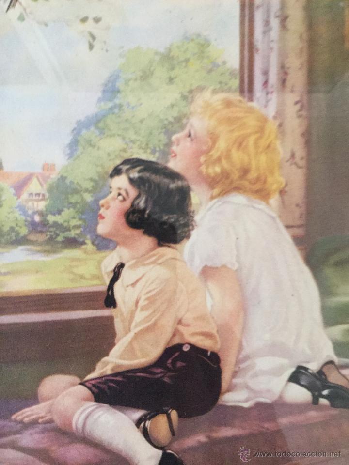 Antigüedades: cuadro con lámina coloreada, muy bonito y entrañable. - Foto 2 - 49532247