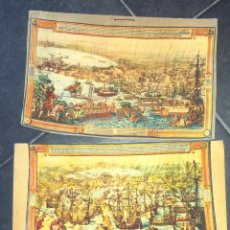 Antigüedades: LOTE 2 REPRODUCCION TAPIZ LA CONQUISTA DE TUNEZ , REPLICA REAL FABRICA TAPICES . CARTEL CARTON DURO. Lote 49535815