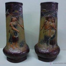 Antigüedades: PAREJA DE JARRONES, FLOREROS EN TERRACOTA. FRANCESES, CASA DEPOSE. Lote 49542602