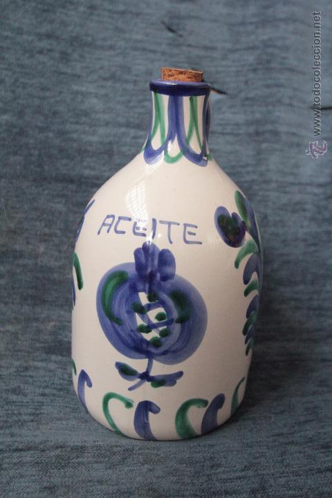 Antigüedades: Antigua aceitera o bombona o jarra de cerámica granadina de FAJALAUZA. barro vidriado y decorado - Foto 2 - 49545739