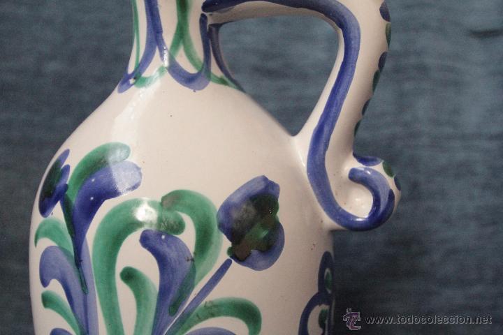 Antigüedades: Antigua aceitera o bombona o jarra de cerámica granadina de FAJALAUZA. barro vidriado y decorado - Foto 4 - 49545739