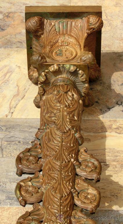 Antigüedades: ANTIGUO E IMPRESIONANTE CANDELABRO DE IGLESIA - LATÓN REPUJADO Y BRONCE - 7 BRAZOS - RELIGIOSO - Foto 17 - 49549887